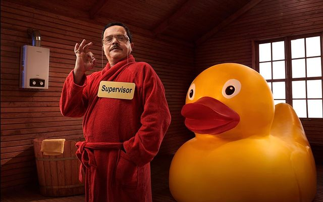 Mohamed Henedi with yellow duck