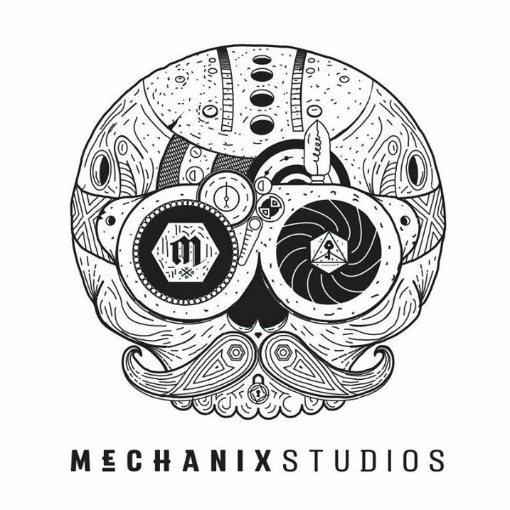 mechanix studios logo, a steampunk skull in black and white colors