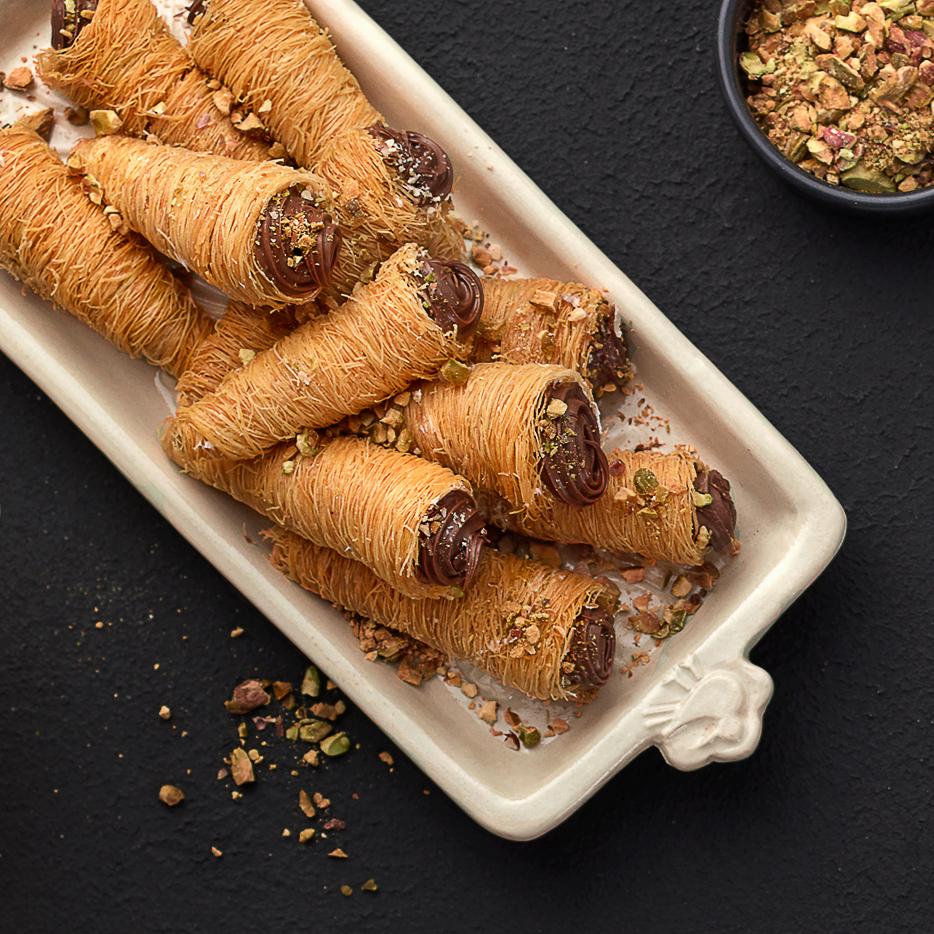 Konafa cones, chocolate, honey