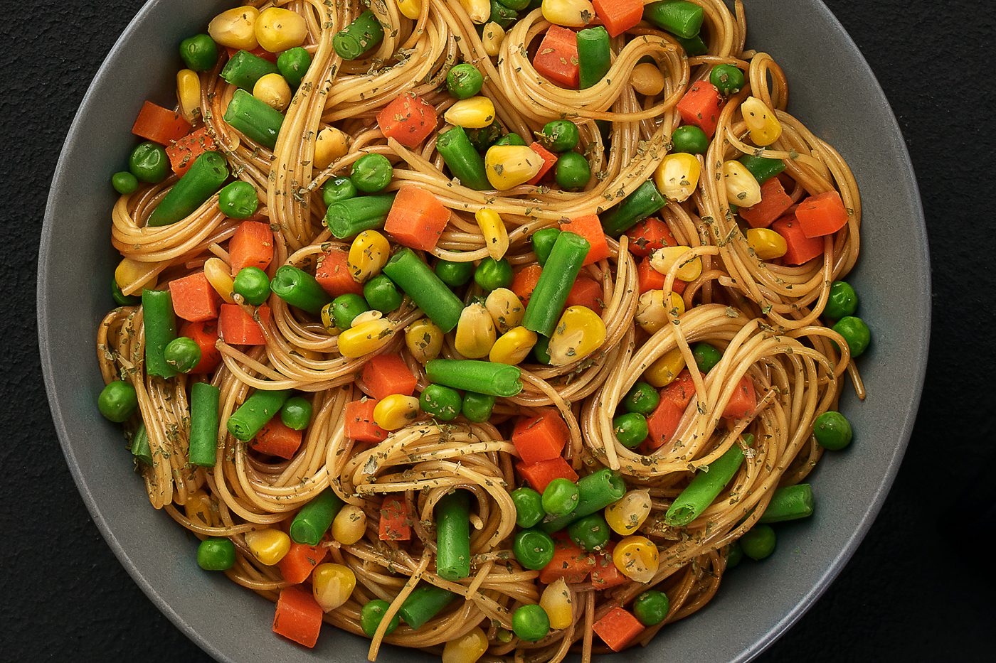 noddels, corn, green beans, Basel